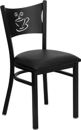 Flash Furniture HERCULES Series Black Coffee Back Metal Restaurant Chair – Black Vinyl Seat