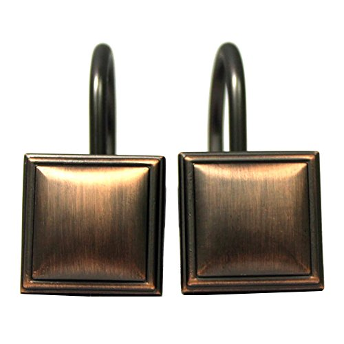 UPC 738980778694, Regan Metal Shower Curtain Hooks, Layered Square Design, Updates Bathroom Decor In An Instant, 12 Hooks, Durable Metal Composition (Oil Rubbed Bronze)