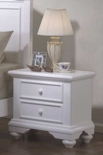(Pebble Beach Collection Matte White Wood Night Stand w/2 Drawers)