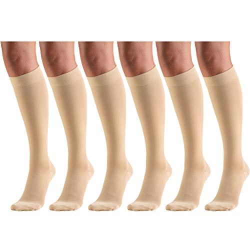 Short Length 20-30 mmHg Compression Stockings for Men and Women, Reduced Length, Closed Toe Beige X-Large (6 Pairs)