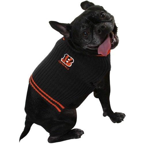 Nfl Pet Bed (CINCINNATI BENGALS V NECK DOG PET EMBROIDERED SWEATER - XS S M L - LICENSED NFL (SMALL))