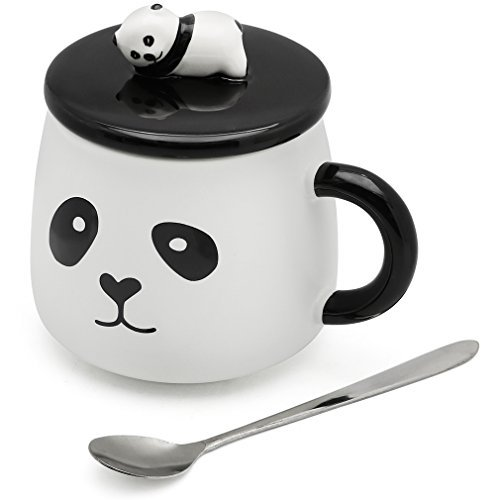 EPFamily 3D Mug Panda Funny Cute White Porcelain Coffee Mugs Set Small Ceramic Tea Cups Black with Lid and Spoon Gifts for Women Men Mom Grandma 14 Oz - Personalized Tea Set