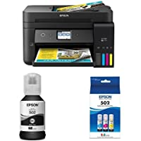 Epson WorkForce ET-4750 EcoTank Wireless Color Printer with Scanner, Copier, Fax and Ethernet with Black Auto-Stop Ink Bottle and Color Combo Pack Auto-Stop Ink Bottle