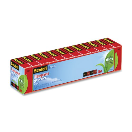 - Scotch Transparent Greener Tape, 3/4 x 900 Inches, Boxed, 12 Rolls (612-12P)