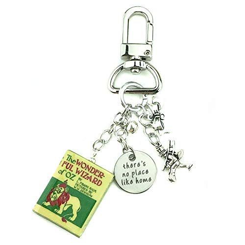 The Wizard of Oz L. Frank Baum Clay Mini Book Key Chain Ring Bag Purse Backpack Clip Trigger - Quotes Scarecrow Oz Wizard