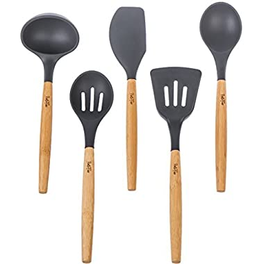 PortoFino 5 Pc. Eco-Friendly Bamboo and Silicone Kitchen Utensil Set, Gray
