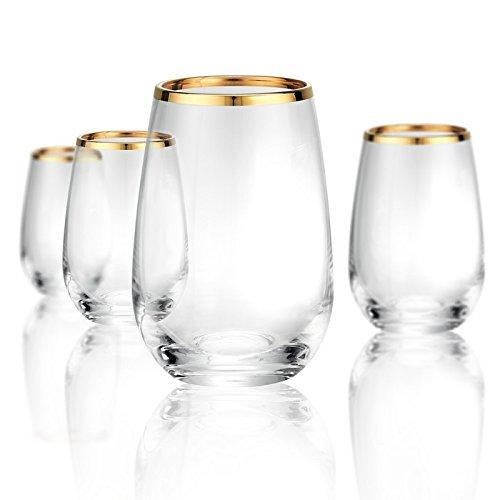 Artland 70206B Gold Band Stemless Non-Lead Crystal Glass, Set Of 4, 15 oz, -