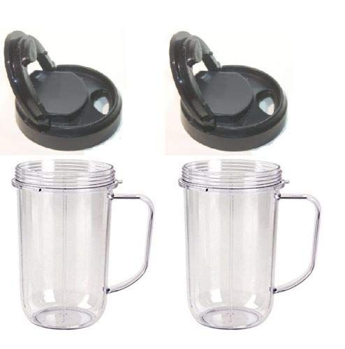 (GG) Cup 2pk Flip Top to Go Lid with 16oz Mug Cup Jar,Fits Original Magic Bullet Blenders