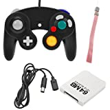 BIRUGEAR Black Controller + Black 6FT Extension Cable + White 64MB Memory Card + Wrist Strap for Nintendo Wii Gamecube