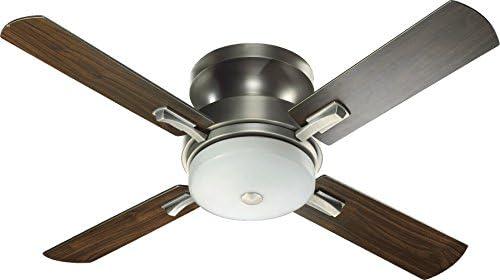 Quorum 65524-92, Davenport Antique Silver Flush Mount 52 Ceiling Fan w Light Wall Control