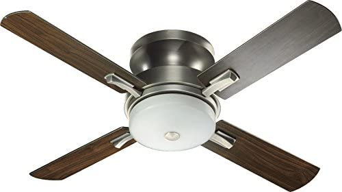 Quorum 65524-92 Davenport – 52 Inch Ceiling Fan with Light Kit, Antique Silver Finish with Antique Silver Walnut Blade Finish