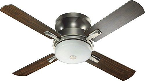 Quorum 65524-92, Davenport Antique Silver Flush Mount 52 Ceiling Fan w Light Wall Control