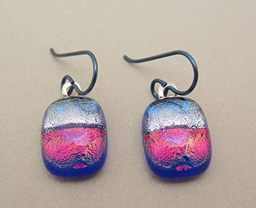 Modern art silver blue red dichroic fused glass dangle earrings Niobium ear wires #144 ()