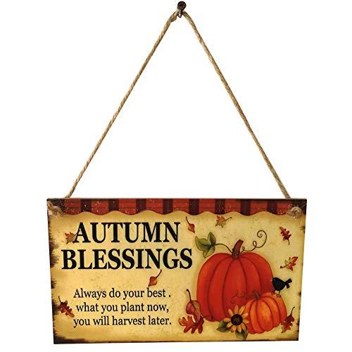 Thanksgiving Wooden Hanging Plaque Sign Thanksgiving Door Hanger Wall Decorations Autumn Greetings for Indoor Outdoor Home School Office Decor (25x15x0.5cm)(pumpkin)