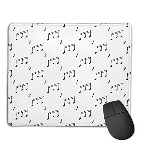 Mouse Pad,Stitched Edges, Waterproof, Ultra Thick 3mm, SilkyMusic,Musical Notes Themed Melody Sonata Singing Songs Clef Tunes Hand Drawn Style Pattern Print,Black,Applies to Games,Home, ()
