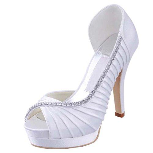 Kevin Fashion Ladies mz542Plisado Satén Novia Prom de Boda Sandalias, Color Blanco, Talla 43 EU