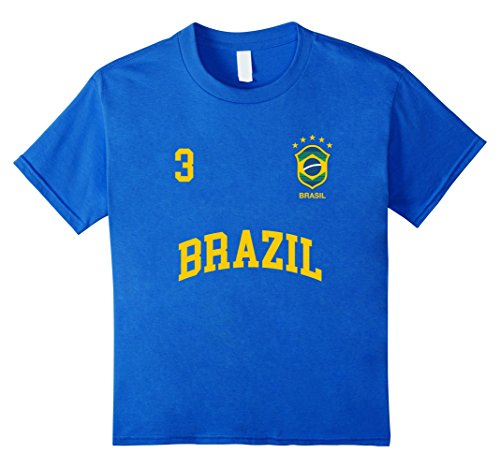 Kids Brazil T-Shirt Number 3 Brazilian Soccer Team Sports Shirt 6 Royal Blue