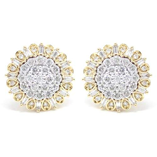AFJewels 10k Yellow Gold 1 Cttw Diamond Cluster Stud Earrings ()