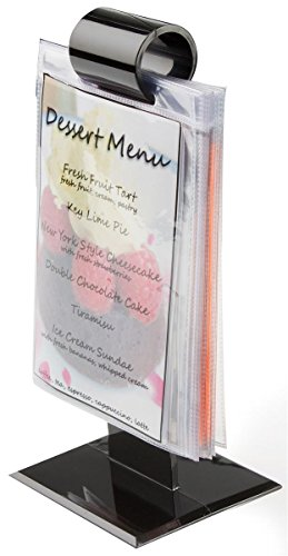 Set of 50, Restaurant Menu Holders 4-1/8w x 9-1/4h x 3-5/8d Black Plastic Table Tents for 4w x 6h Images, Counter Signage Displays Come with 10 Vinyl Sleeves