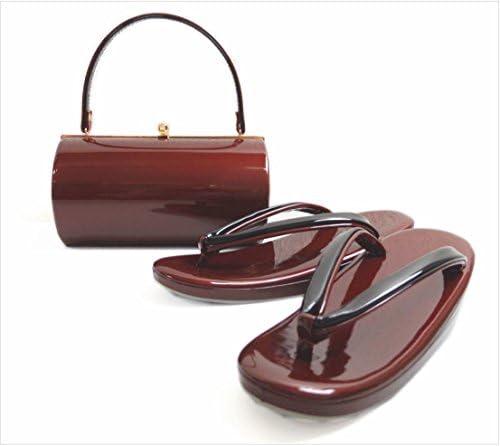エナメル草履バッグセット横丸型濃赤色(黒)大きいサイズLL 振袖&袴・着物 日本製