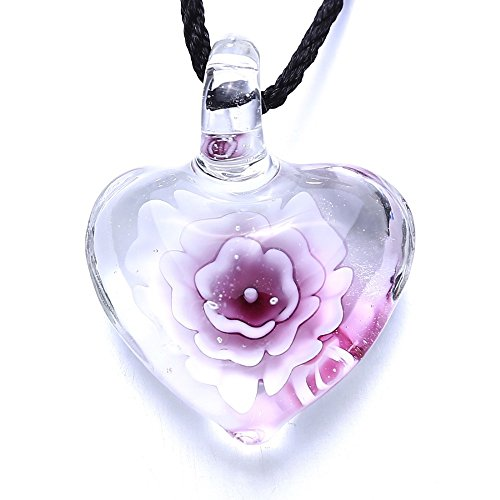 AOBILE(TM) Vintage heart flower Handmade Peony lampwork Murano art glass beaded pendant necklace for women fashion necklace jewelry