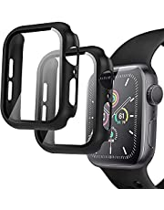 Compatible Apple Watch 44mm Case, 2 Pack Hard PC Case with Tempered Glass Screen Protector for Apple Watch Series 6 SE Series 5 Series 4, iWatch Protective Cover 44mm - Black