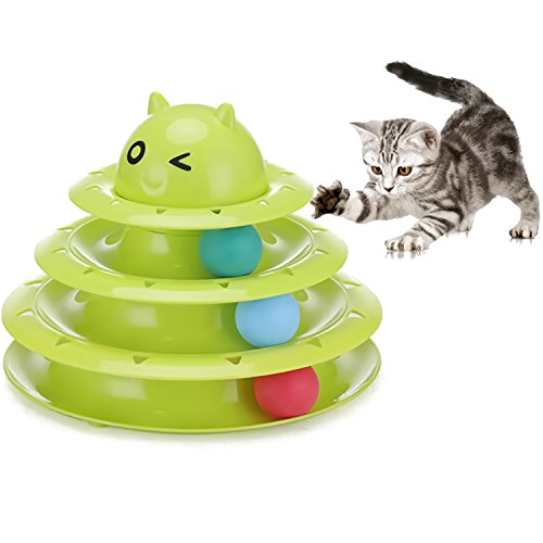 Cat & Kittens Toy Ball Tower 3-Level Tower Ball Track Indoor Cats Pet Roller Ball Provides Hours of Mental Stimulation and Physical Play ()