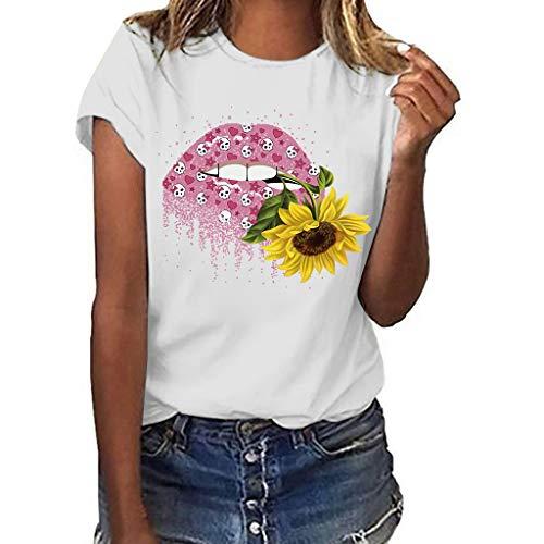 TANGSen Women Short Sleeved Tops Fashion Ladies Casual Print T-Shirt Summer Plus Size Retro Leisure Blouse White