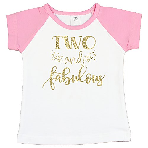 Fabulous Heart - Olive Loves Apple Two and Fabulous Shirt Glitter Gold Two and Fabulous Hearts Pink Raglan Girls 2nd Birthday Shirt