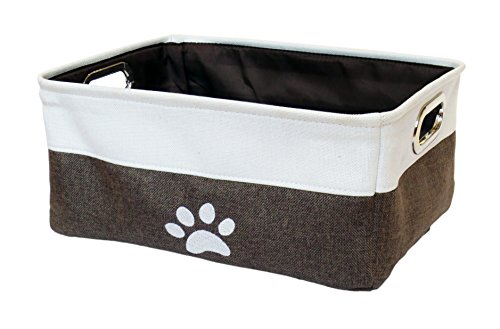 "Winifred & Lily Pet Toy and Accessory Storage Bin, Organizer Storage Basket for Pet Toys, Blankets, Leashes and Food in embroidered ""Paws"", Beige / Brown Pet Toy Box"
