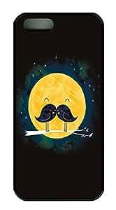 taoyix diy iPhone 5 5S Case Mustache Bird Moon PC Custom iPhone 5 5S Case Cover Black