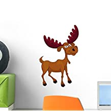 Wallmonkeys Funny Moose Cartoon Peel and Stick Wall Decals (12 in H x 8 in W)