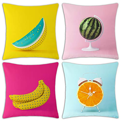 Redland Art 4 Pack Fall Fruit Watercolor Pattern Cotton Linen Throw Pillow Covers 18 X 18 Inch Cushion Cover Pillowcase Holiday Season Sofa Decorations