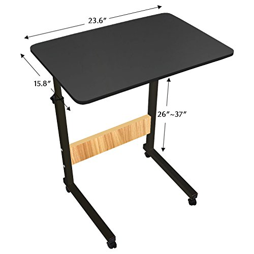 DL Furniture - Adjustable Height Laptop Desktop Table Stand, Over Bed Side Table with wheels | Metal Frame & Black Surface