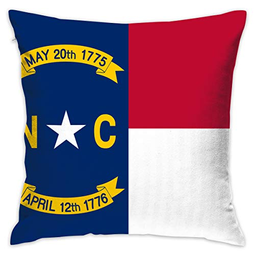 AZNM North Carolina State Flag Square Throw Pillow Classic Decorative Seat Cushion Pillow & Pillowcase Covers 18