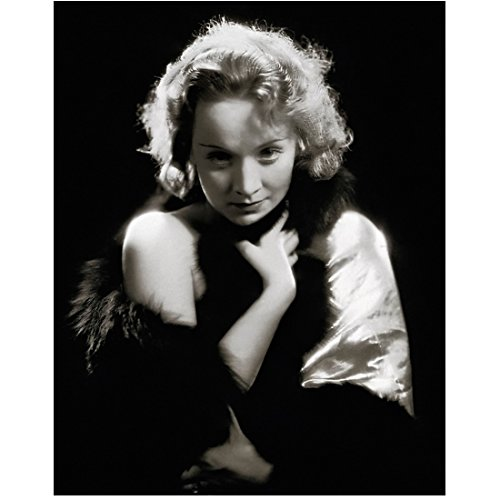 Marlene Dietrich looking shy and clutching clothes to her self Black and White 8 x 10 Inch Photo