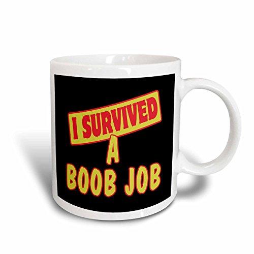3dRose mug_117578_1 I Survived a Boob Job Survival Pride and Humor Design Ceramic Mug, 11-Ounce