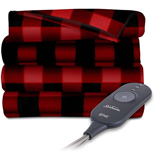Sunbeam Heated Electric Throw Blanket Fleece Extra Soft, Red and Black Plaid (50 in. X 60 in.) Black Microplush Throw