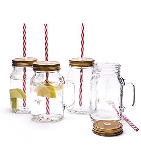 CKB Ltd Set Of 4 Traditional American Old Style Mason Pint Jar Drinking Glasses With (Pint Mason Jar)