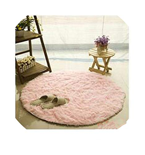 Fluffy Round Carpet Non-Slip Shower Bedroom Mat Door Floor Carpet Shaggy Faux Fur Area Rug Home Textile,Pink,Diameter 120cm