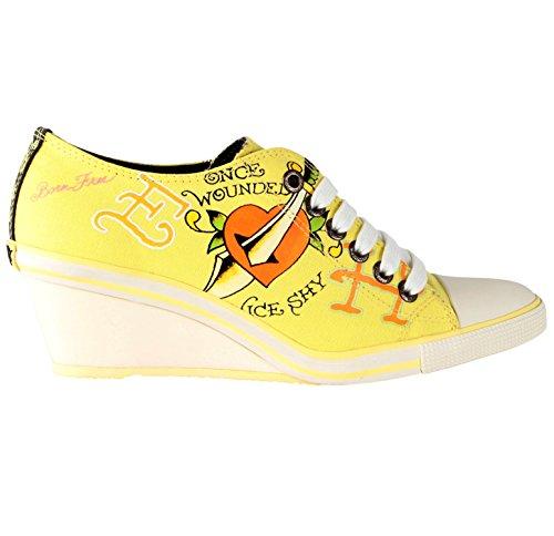 Ed Hardy Kvinnor Bret Kilklack Sko Sneakers Gul