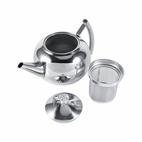 unbrand 1.5L Stainless Steel Kettle Kitchen Coffee Pot Restaurant Container Home Hotel Cafe Bar Water Jug with Filter Teapot by unbrand