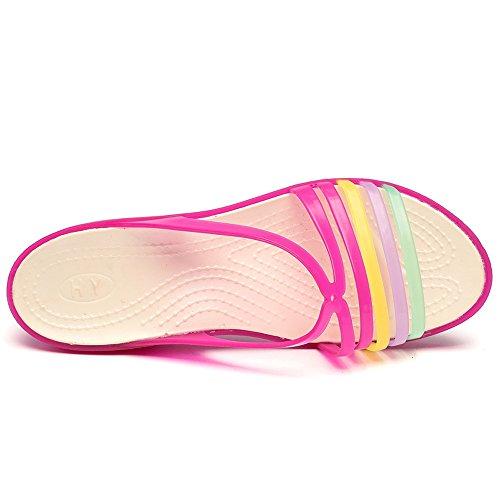 Enllerviid Donne Open Toe Jelly Sandali Con Zeppa Sandali Moda Piattaforma Slip On Scarpe Domenica Rosa