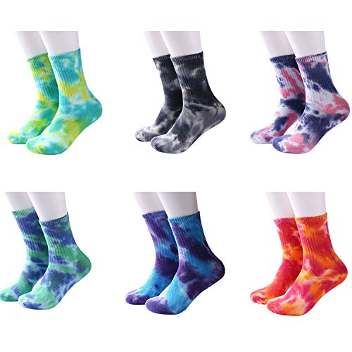 DREAM SLIM - A Collection of Tie Dye Novelty Fashion Colorful Cool Crazy Skateboard Crew Socks 5 Pack/6 Pack
