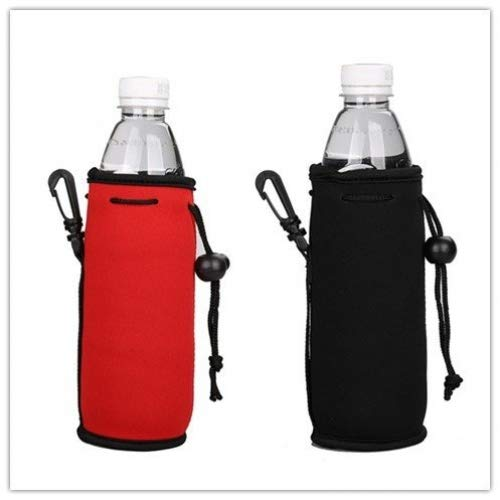 E - Living 500ML (16.9 OZ) Collapsible Neoprene Water Bottle Drawstring Cooler / Coolie / Cover / Insulator / Holder / Huggie / Sleeve - 2 Pack (13 Colors) (Red & Black)