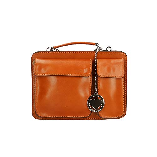 Italy Organiseur Cm 27x20x11 Petit In Véritable Cuir Borse Sac Bronzage En Porte documents Chicca Made OwPtqP