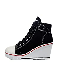Padgene Women's Sneaker High-heeled Fashion Canvas Shoes High Pump Lace UP Wedges Side Zipper Shoes