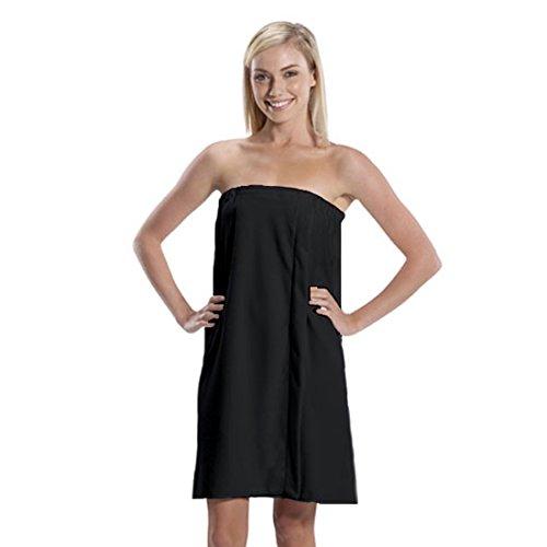 Microfiber Bath Wrap Towel for Women (Black, One Size)