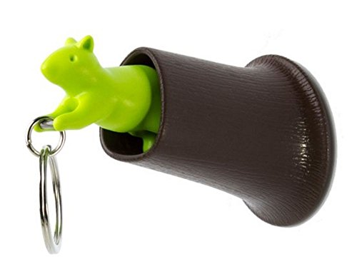 Qualy Squirrel Keyring, Keyholder and Hook in Brown Green (Hook Squirrel)