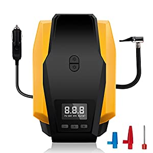Portable Air Compressor Pump, 12V 150 PSI Auto Electric Digital Tire Inflator with Preset Pressure Shut Off and Bright LED Light for Car, Truck, Bicycle, Basketballs
